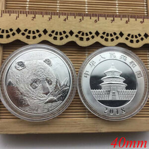 2018 CHINA PANDA COMMEMORATIVE SOUVENIR COIN ROUND COLLECTION GIFT SILVER 40MM