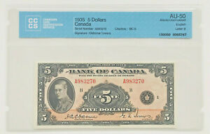 Click now to see the BUY IT NOW Price! 1935 5 DOLLARS BANK OF CANADA  LETTER B ENGLISH  CCCS AU 50