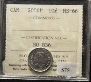 Click now to see the BUY IT NOW Price! 2006P CANADIAN TEN CENT ICCS MS 66