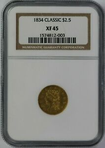 1834 P NGC $2.50 CLASSIC GOLD QUARTER EAGLE XF45 CERTIFIED US PRE 33 COIN