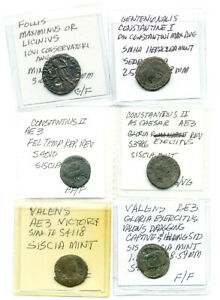 SIX DIFFERENT ROMAN COINS CLEANED AND IDENTIFIED VG TO FINE LOT1