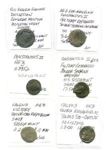 SIX DIFFERENT ROMAN COINS CLEANED AND IDENTIFIED VG TO FINE LOT3