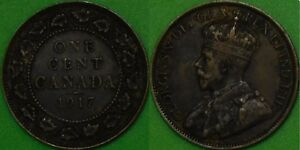 1917 CANADA LARGE PENNY GRADED AS FINE
