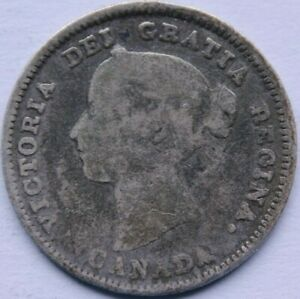 CANADA 5 CENTS 1890H