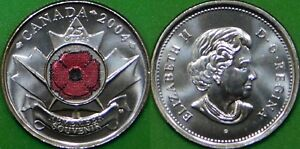 2004 CANADA  P MARK  PAINT POPPY QUARTER GRADED AS BRILLIANT UNCIRCULATED