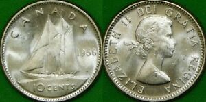 1956 CANADA SILVER DIME GRADED AS BRILLIANT UNCIRCULATED FROM ORIGINAL ROLL