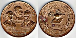 MEDAL:AMERICAN NUMISMATIC ASSN:ANA 75TH ANNIVERSARY:1891 1966: BY FRANK GASPARRO