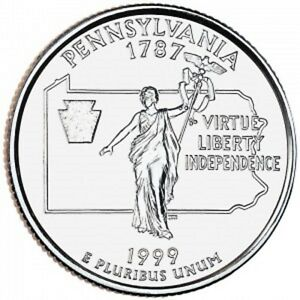 1999 D PENNSYLVANIA UNCIRCULATED STATE QUARTER FROM U.S. MINT   ONE COIN