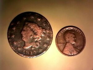 1817 CORONET LARGE CENT 13 STARS  PLUS A 1917 WHEAT 100YRS LATER SHIPS FREE