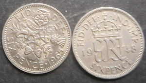 GREAT BRITAIN 1948 KGVI  1965 QEII  6D   SIXPENCE  COIN