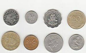 LOT OF 8 COINS FROM 8 DIFFERENT COUNTRIES