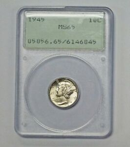 1945 MERCURY DIME PCGS MS65 OLD RATTLER HOLDER