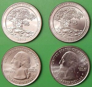 2013 US GREAT BASIN PARK QUARTER SET ONE P&ONE D FROM MINT ROLLS