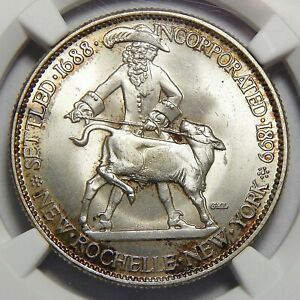 1938 NGC MS65 NEW ROCHELLE HALF DOLLAR SILVER COMMEMORATIVE