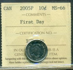 Click now to see the BUY IT NOW Price! 2005P CANADA 10 CENT CERTIFIED ICCS MS 66