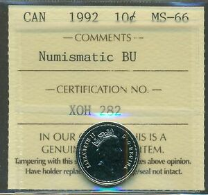 1992 CANADA 10 CENT NBU ICCS MS 66 AFFORDABLE FOR NEW HOBBYIST