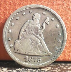 NICE 1875 S WITH MISPLACED DATE ERROR SEATED LIBERTY SILVER 20 TWENTY CENT PIECE