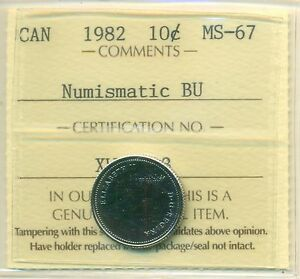 1982 CANADA 10 CENT NBU ICCS MS 67 AFFORDABLE FOR NEW HOBBYIST
