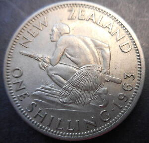NEW ZEALAND 1963 QEII ONE SHILLING COIN UNC MS