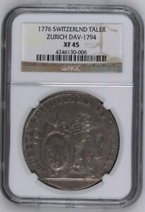 Click now to see the BUY IT NOW Price! 1776 SWITZERLAND ZURICH THALER DAV 1794 NGC XF45 SILVER LION