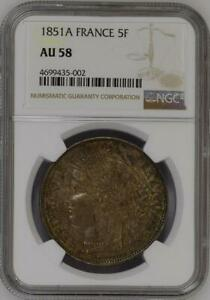 Click now to see the BUY IT NOW Price! 1851 A FRANCE 5 FRANCS NGC AU58 ALMOST UNCIRCULATED LIBERTY HEAD PARIS SILVER