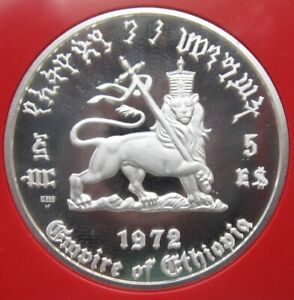 Click now to see the BUY IT NOW Price! LOT OF FOUR 1972 ETHIOPIA HAILE SELASSIE 5 DOLLAR SILVER PROOF COIN CROWNED LION