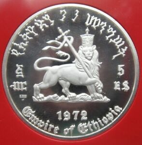 Click now to see the BUY IT NOW Price! 1972 ETHIOPIA HAILE SELASSIE 5 DOLLAR SILVER PROOF COIN CROWNED LION OF JUDAH