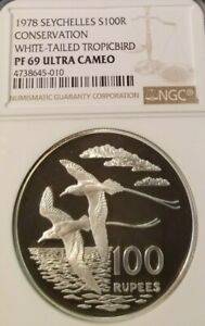 Click now to see the BUY IT NOW Price! 1978 SEYCHELLES SILVER 100 RUPEES WHITE TAILED TROPICBIRD NGC PF 69 ULTRA CAMEO