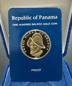 Click now to see the BUY IT NOW Price! 1977 PANAMA 100 BALBOAS GOLD PROOF   FRANKLIN MINT SEALED WITH BOX AND COA