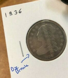 1836 CAPPED BUST QUARTER 25C WITH DIE BREAK