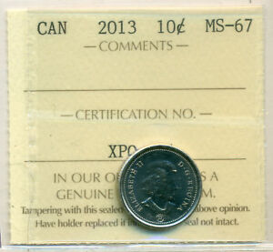 2013 CANADA 10 CENT CERTIFIED ICCS MS 67