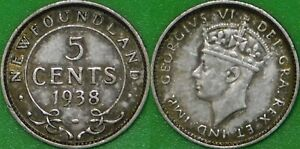 1938 CANADA SILVER NEWFOUNDLAND NICKEL GRADED AS FINE