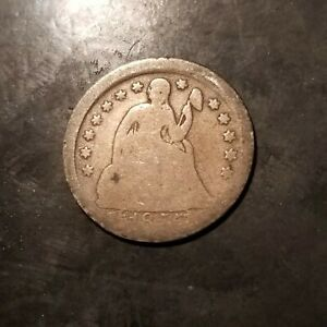 1855 SEATED LIBERTY SILVER DIME OFF CENTER STRIKE