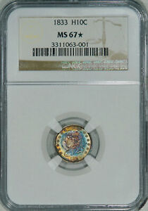 Click now to see the BUY IT NOW Price! 1833 NGC MS67  BUST HALF DIME A LUSTROUS SUPERBLY ORIGINAL HIGH END COLOR COIN