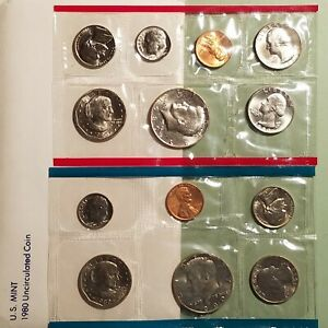1980 US UNCIRCULATED MINT SET P D S 13 COINS 2 ANTHONY 3 WASHINGTON $.25 ERROR