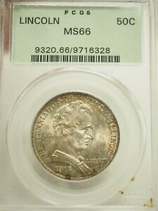 Click now to see the BUY IT NOW Price! 1918 LINCOLN ILLINOIS COMMEMORATIVE SILVER HALF DOLLAR .50C PCGS MS 66  6328