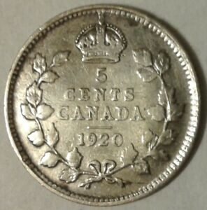 1920 CANADA SILVER FIVE CENTS COIN