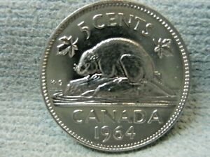 1964 CANADA 5 CENT DBL QUEEN FOREHEAD & 1 CENT DIE CHIP IN