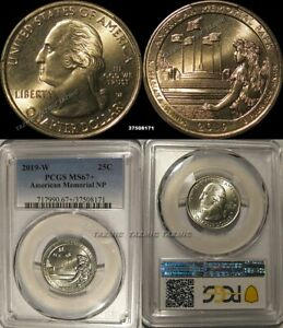 Click now to see the BUY IT NOW Price! 2019 W AMERICAN MEMORIAL NP QUARTER 25C PCGS MS67   PLUS GRADE POP 1/0