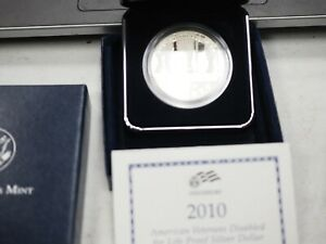 2010 W AMERICAN VETERANS DISABLED FOR LIFE COMM. PROOF SILVER DOLLAR CASE/COA