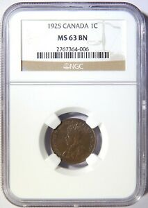 1925 CANADA ONE CENT NGC MS 63 BN 1C