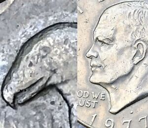 1977 D EISENHOWER DOLLAR ERROR   DEEP CAMEO   DOUBLED   FRIENDLY EAGLE   TONED