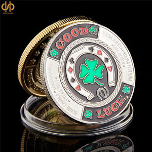 SILVER PLATED GREEN CLOVER GOOD LUCK POKER CHIPS CASINO CHALLENGE COIN COLLECT
