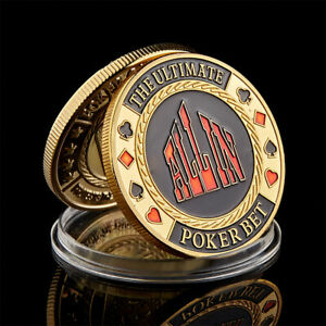 COLORFUL POKER CARD CARVED THE ULTIMATE POKER BET ALL IN  LUCK CHALLENGE COIN
