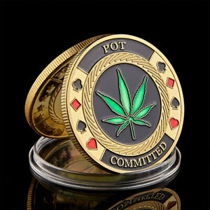 GOLD PLATED GREEN CLOVER GOOD LUCK POKER CHIPS CASINO CHALLENGE COIN COLLECTION