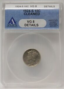 1924 S MERCURY DIME ANACS VG8 CLEANED  OLD BLUE HOLDER