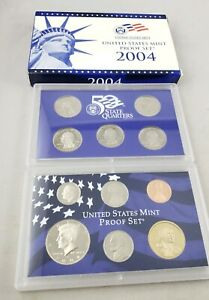 2004 S U.S. MINT 11 COIN CLAD PROOF SET WITH BOX & COA / ORIGINAL PACKAGING