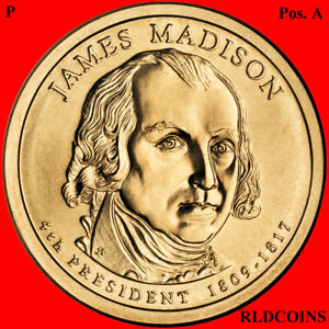 2007 P PRESIDENT JAMES MADISON UNCIRCULATED PRESIDENTIAL DOLLAR   POS. A