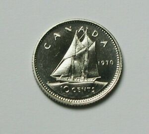 1970 CANADA ELIZABETH II COIN   10 CENTS   UNC LUSTRE  FROM MINT SET