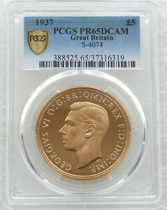 Click now to see the BUY IT NOW Price! 1937 GEORGE VI CORONATION 5 FIVE POUND SOVEREIGN GOLD PROOF COIN PCGS PR65 DCAM